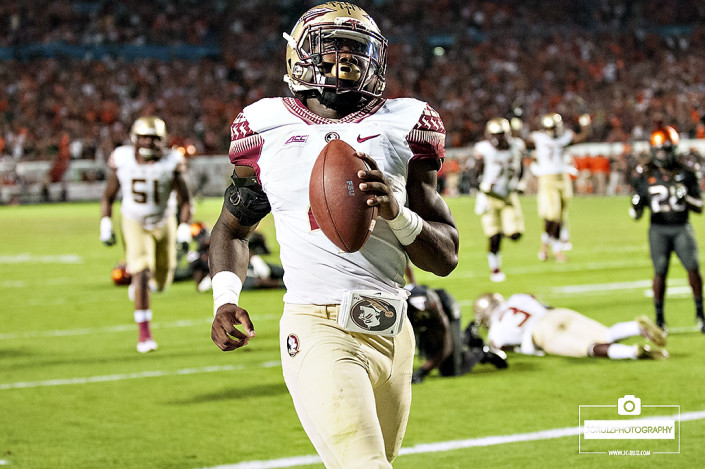 Florida State RB #4, Dalvin Cook, scores the game winning touchdown against the Miami Hurricanes