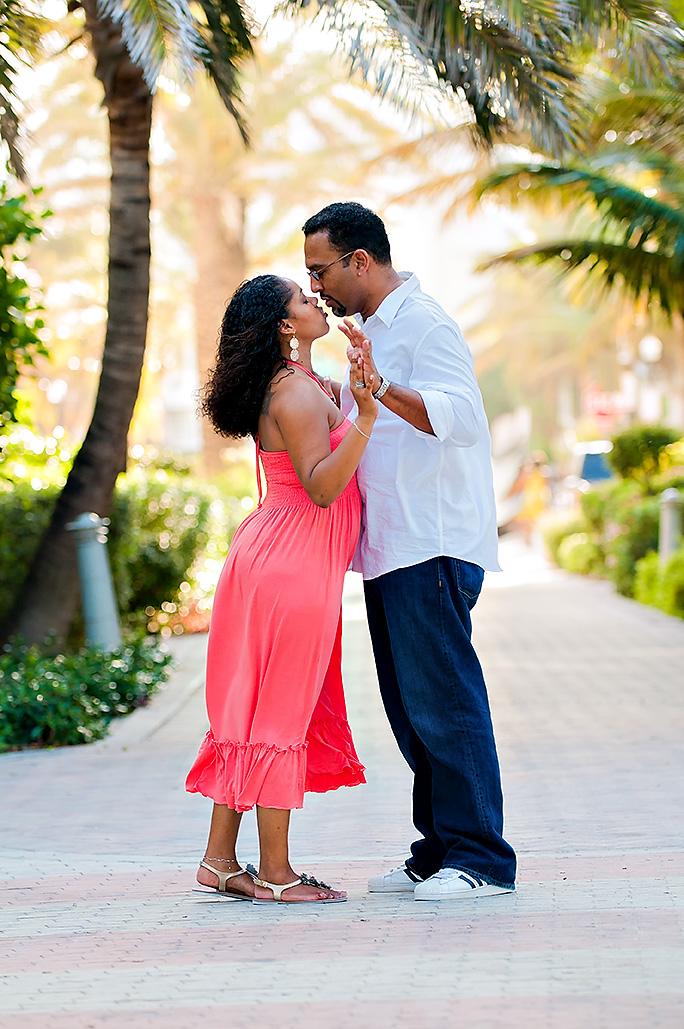 A South Beach engagement photo shoot