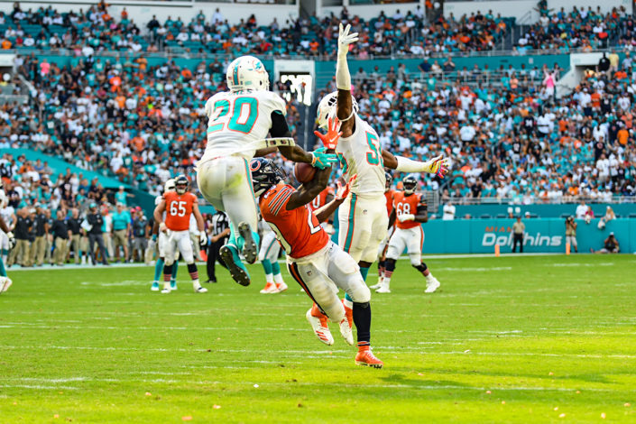 Miami Dolphins free safety Reshad Jones (20) tries to intercept the pass