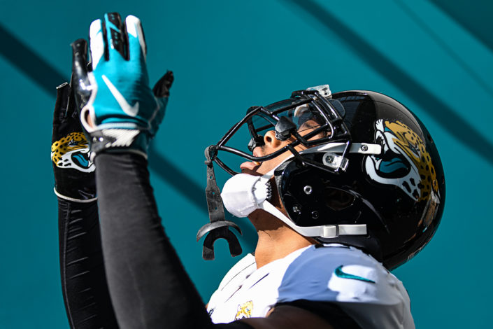 Jacksonville Jaguars cornerback Jalen Ramsey (20) blows a kiss towards the sky