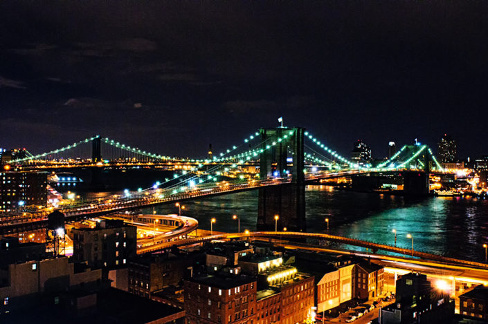 Brooklyn and Manhattan Bridges at night