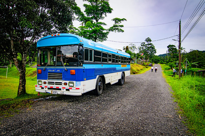 School bus in a village in Costa Rica