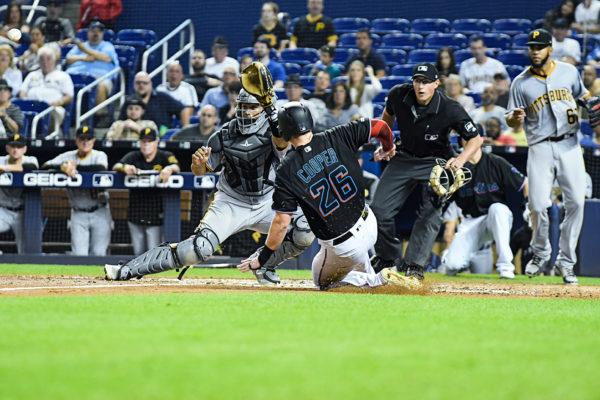 Miami Marlins left fielder Garrett Cooper #26 - Pittsburgh Pirates vs. Miami Marlins at Marlins Park