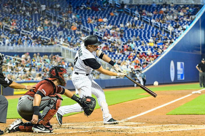 Miami Marlins third baseman Martin Prado #14 - Arizona Diamondbacks vs. Miami Marlins at Marlins Park